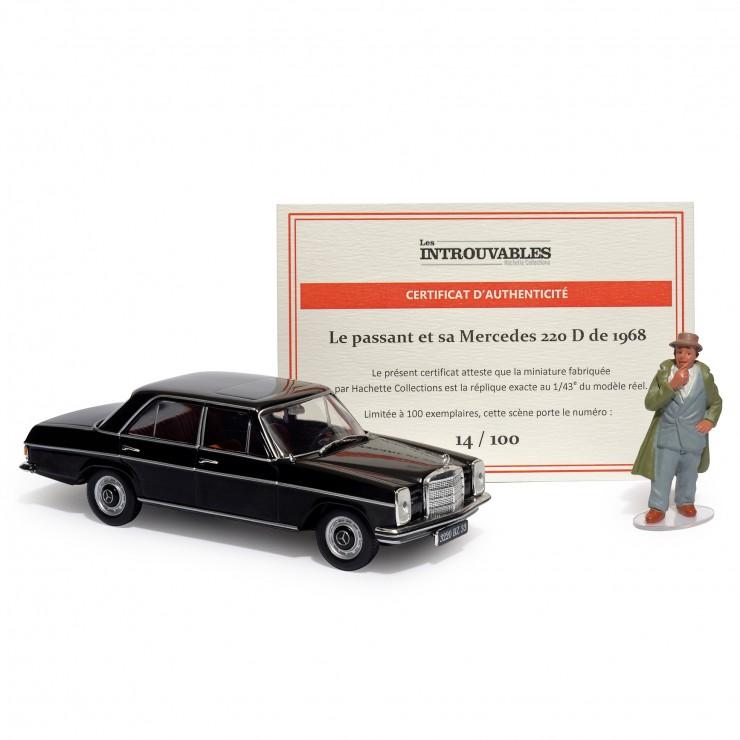 Le passant et sa Mercedes 220D de 1968